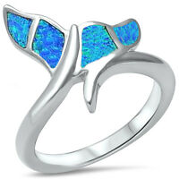 Blue Australian Opal Whale Tail .925 Sterling Silver Ring Sizes 5-10