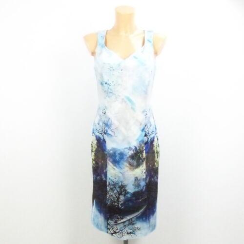 36 COMMA Etuikleid Kleid AOP Print Hellblau Gr