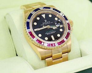 Details about Rolex GMT Master II 116718 18k Yellow Gold PEPSI  Diamonds/Rubies/Sapphires Bezel