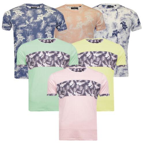 Homme Brave Soul Mapel Tropical 100/% coton doux col ras du cou T-Shirt Imprimé