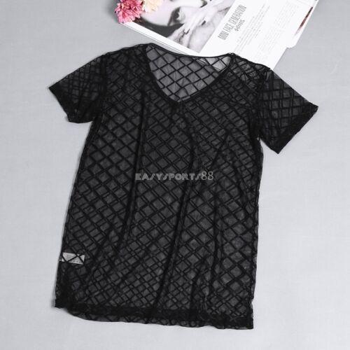 Herren Unterhemden Mesh Transparent Unterwäsche Fischnetz T-shirts Tops Clubwear