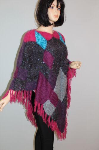 Wolle Vintage Poncho Oversize années True Knit 80 Strick Angora Cardigan Cape 80 Vtg Années PqAtwF1P