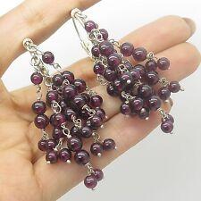 Vtg Sterling Silver Real Red Garnet Gemstone Handmade Dangling Hoop  Earrings