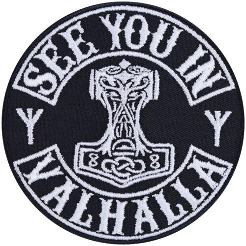 See you in VALHALLA Aufbügler Biker Patch Vikings Applikation Aufnäher