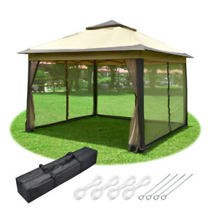 11x11ft Pop-Up Gazebo Tent with Netting Carry Bag Carry Bag Party Home Backyard