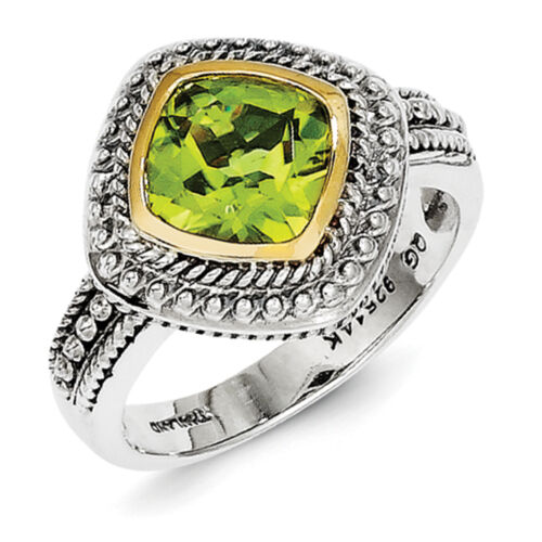 Peridot Ring .925 Sterling Silver w// 14K Gold Accent Size 6-8 Shey Couture