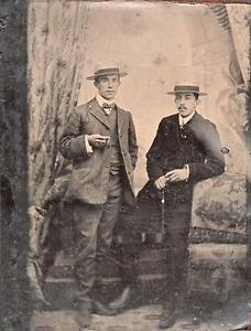 ORIG VICTORIAN Tintype  Ferrotype Photo c1860039s TWO GENTLEMEN SMOKING CIGARS - England, United Kingdom - ORIG VICTORIAN Tintype  Ferrotype Photo c1860039s TWO GENTLEMEN SMOKING CIGARS - England, United Kingdom