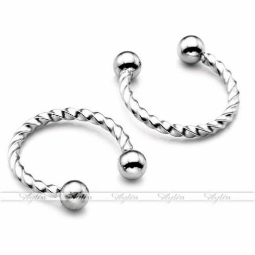 Punk 1pair Stainless Steel Fake Helix CBR Nose Ring Septums Twisted Non Piercing