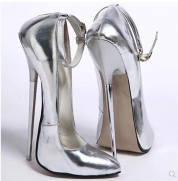 donna  Stilettos Pointy Toe Sexy Ankle Strap Supper High Heel scarpe S35 -44  in vendita