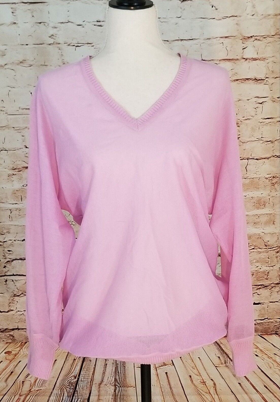 DKNY Pretty Pink Knit Long Sleeve Sweater Top L