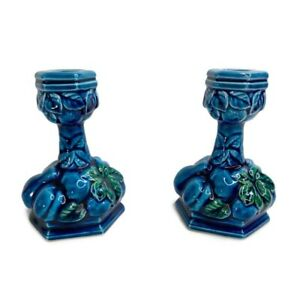 Vintage-Inarco-1960s-MOOD-INDIGO-E3563-Blue-Fruit-Candle-Stick-Holders-Set-Japan