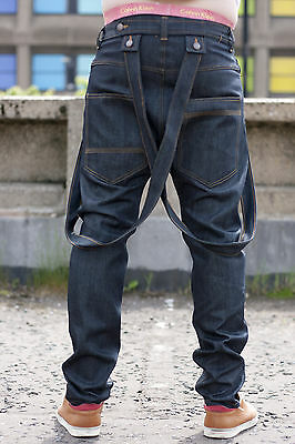 DUNGAREES BRACES BLUE BLACK DENIM JEANS MENS DROP CROTCH SLIM LEG LOW RISE SIK
