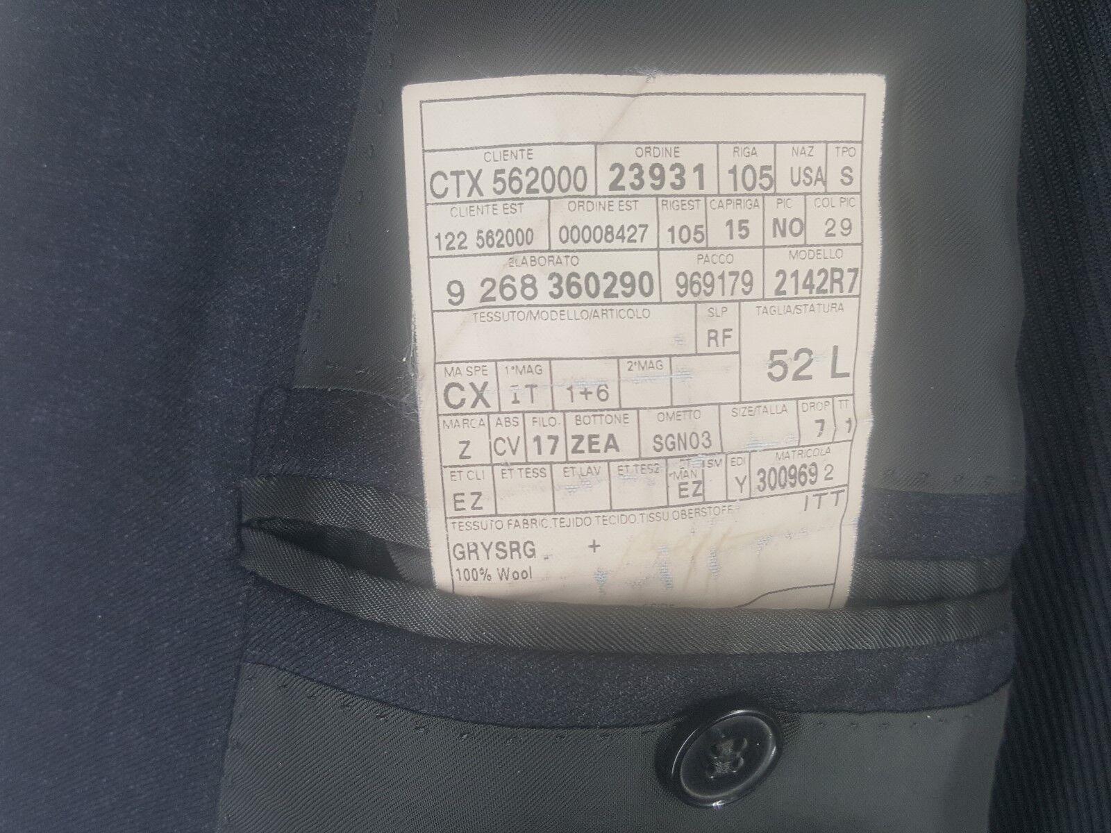 ERUomoEGILDO ZEGNA Gris Sport Coat 3 Btn Side Vents Vents Side 4 Season Wool  Fit 42-44 Long 8f1061