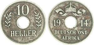 German East Africa 10 Heller 1914J Lochgeld Seltenes Year ( (44594)