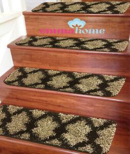 Soft-Shaggy-NON-SLIP-MACHINE-WASHABLE-Stair-Treads-Mats-Rugs-BeigeTaber-22x76cm