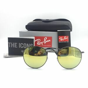 e7ae537942 New Ray-Ban RB3447 029 93 Gunmetal Round Sunglasses Mirrored Yellow ...