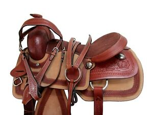 DEEP SEAT WESTERN SADDLE 16 17 PLEASURE HORSE ROPING FLORAL TOOLED LEATHER TACK