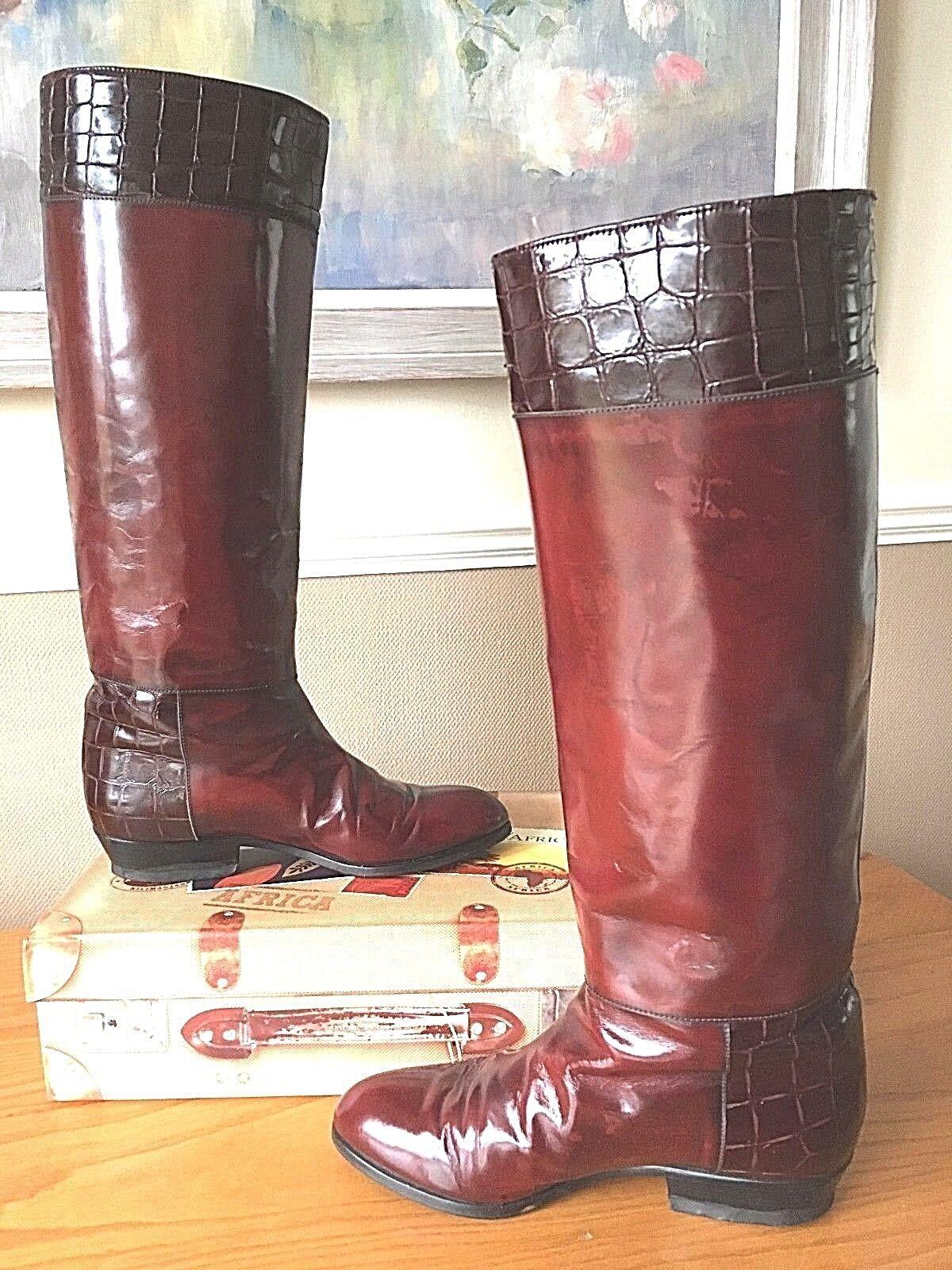 Señoras Bally Rico Color Color Color Marrón Castaño todo el cuero tire de botas de Montar UK 4 EU 37 2a9f3c