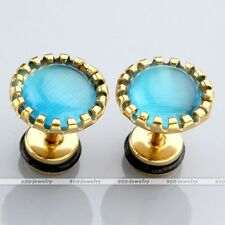 11mm Flower Disc Lake Blue Cat Eye Gem Bar Fake Plug Ear Stud Gold Steel Earring