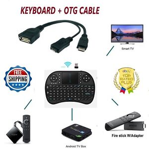 Details about 2 4G RF Mini Wireless Keyboard Mouse & OTG USB Adapter 4  Amazon FIRE Stick, blk