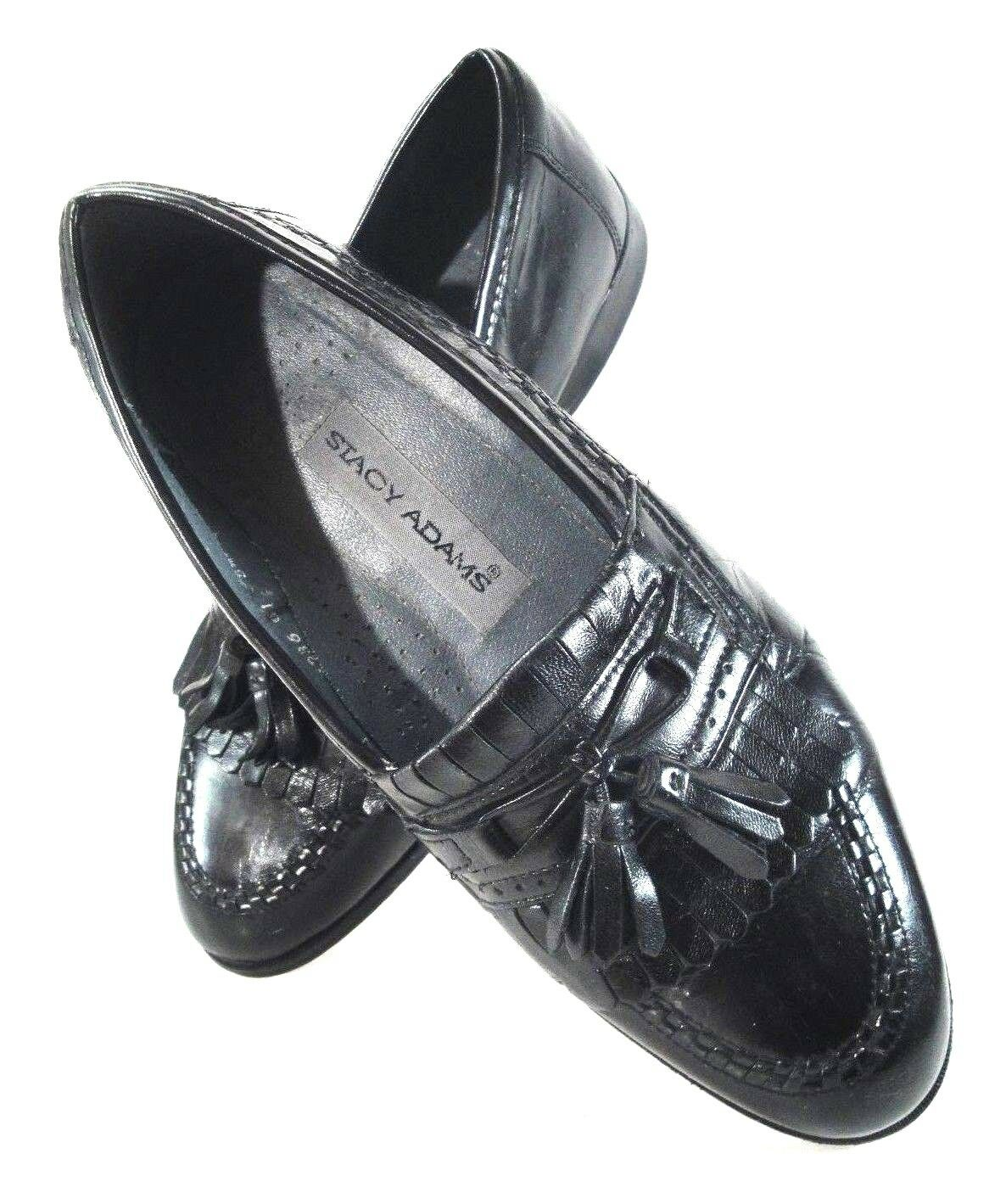 STACY ADAMS Black Leather Loafer Kilt with Tassels and Fringed Kilt Loafer Men's Size 8.5 M a40ab4