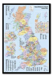 Great Britain & Ireland Map Pinboard - Cork Board Inc Pins - Choice on