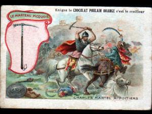 IMAGE-CHROMO-CHOCOLAT-POULAIN-ARME-Marteau-de-GUERRE-Charles-MARTEL-a-POITIERS