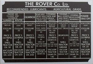 Land-Rover-Series-1-80-86-88-107-Bulkhead-Lubricants-Info-vin-chassis-plate-id