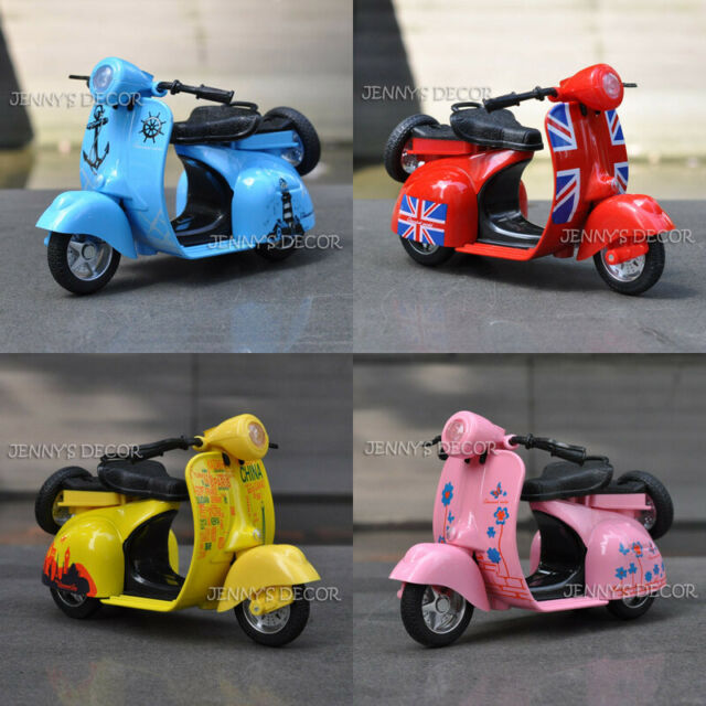 114 Diecast Motorcycle Model Toy Scooter Vespa Pull Back With Soundlight