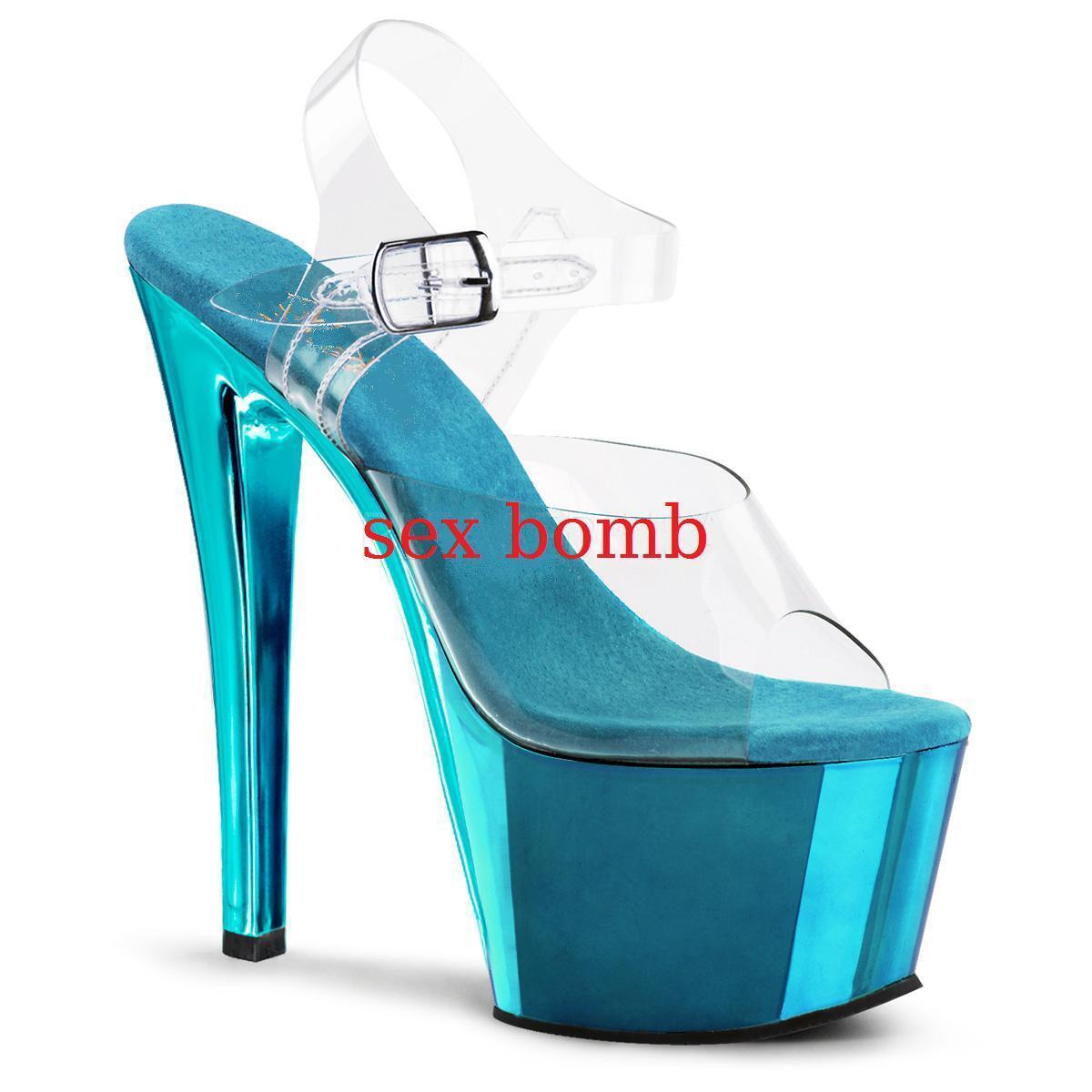 SEXY sandali PLATEAU TACCO 18 dal 35 al 44 turchese/trasparente fashion GLAMOUR