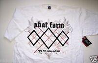 Mens T Shirt Phat Farm White W/ Black Silver Red Design L 1xl 2xl