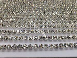 25-Metros-Diamantes-De-Imitacion-Brillantes-Plateado-Transparente