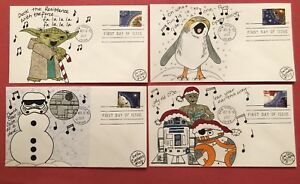 2017 Christmas Carols Fdc Star Wars Parody Hand Drawn Lot Of 4 Ebay