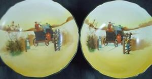 Royal-Doulton-COACHING-DAYS-2-Cereal-Bowls-RARE-D2716-C-GREAT-CONDITION