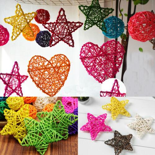 10 Pcs 6 cm Rattan Stars Mixed Color Xmas Wedding Anniversary Party Decoration