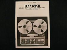 STUDER REVOX B77 MKII Schaltungssammlung / Set of schematics / Rec. de Schemas