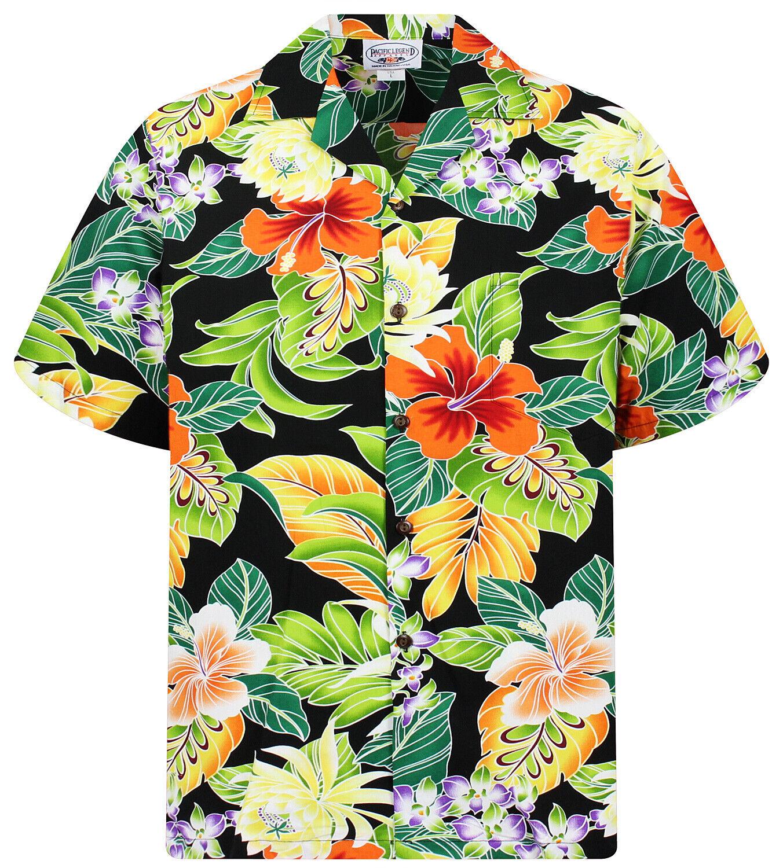 PLA Original Hawaiian Shirt, Hawaiihemd, New Flower, black S-4XL