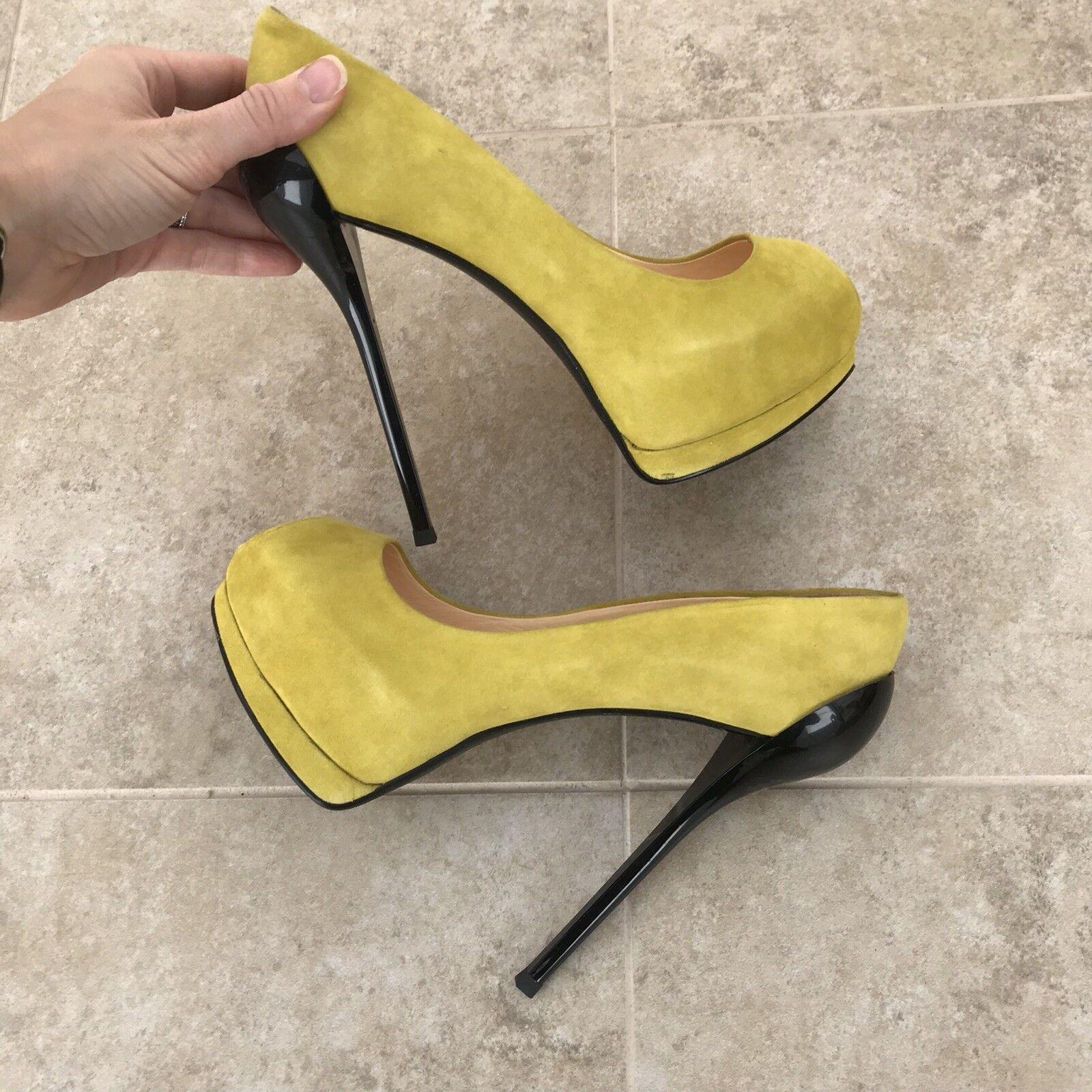 Real Suede jaune High Heels 38
