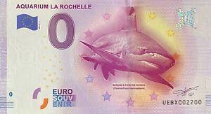 BILLET-0-EURO-AQUARIUM-DE-LA-ROCHELLE-FRANCE-2016-NUMERO-2200