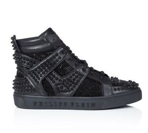 6902d2e0fc Image is loading Philipp-Plein-High-Top-Black-Sneakers-034-Don-
