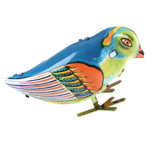 Wind up clockwork pecking song blue bird magpie tin toy vintage retro gift  I