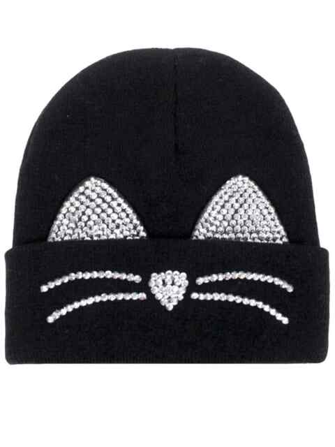 David   Young Womens Black Rhinestone Kitty Cat Beanie Hat Knit Stocking Cap de3d6b71b76