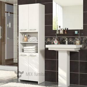 Modern White Tall Bathroom Storage 4 Doors Cabinet Fast