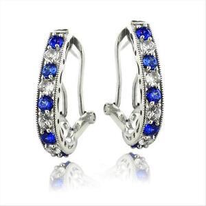 925er-Silber-2-5ct-ct-Kuenstlicher-blau-amp-Weiss-Saphir-Oval-kupplungslose