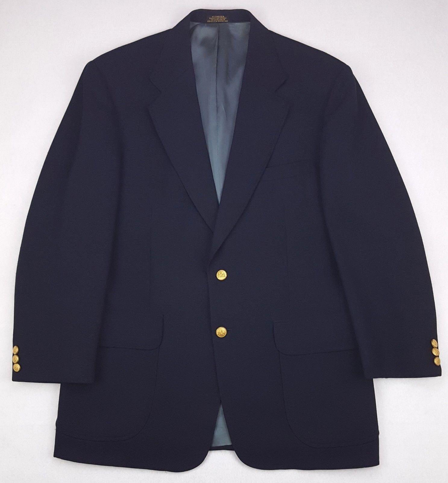 Stafford bluee Blazer 40R Navy Wool Blend gold Tone Metal Buttons Mens Sz Regular