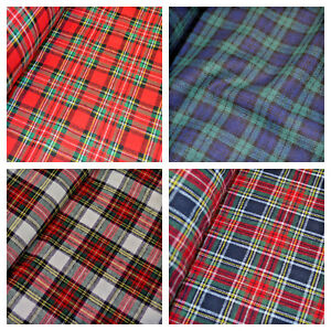 100-Brushed-Cotton-Fabric-Tartan-Wincyette-Flannel-Material-150cm-wide