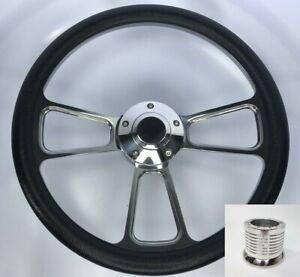 14-034-Polished-Billet-Steering-Wheel-Black-Wrap-Horn-Button-amp-Adapter-A17