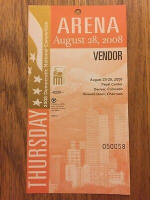 2008 Democratic National Convention SPECIAL GUEST HALL Credential Barack Obama