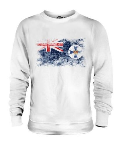 QUEENSLAND DISTRESSED FLAG UNISEX SWEATER TOP GIFT SHIRT CLOTHING JERSEY
