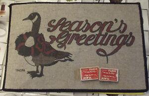 Ancien-tapis-de-jeu-publicitaire-Oie-SEASON-039-S-GREETINGS-Retro-2-jeux-de-cartes